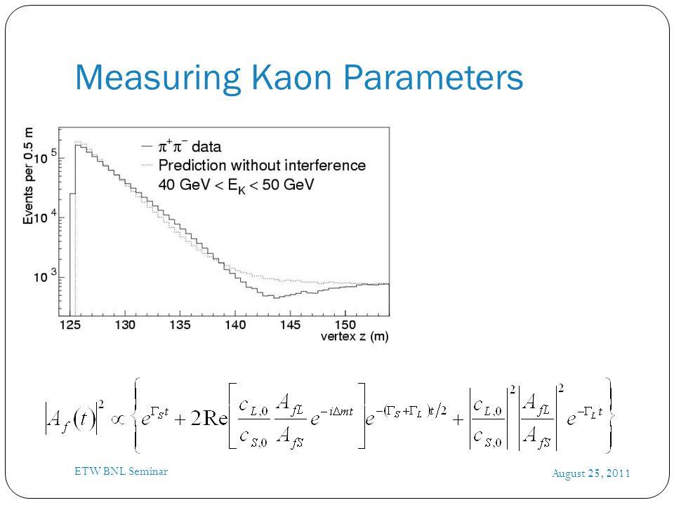 Measuring Kaon Parameters August 25, 2011 ETW BNL Seminar