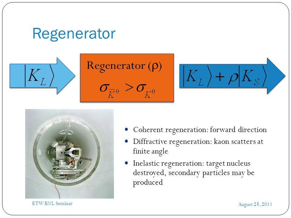Regenerator August 25, 2011 ETW BNL Seminar Coherent regeneration: forward direction Diffractive regeneration: kaon scatters at finite angle Inelastic regeneration: target nucleus destroyed, secondary particles may be produced Regenerator (  )