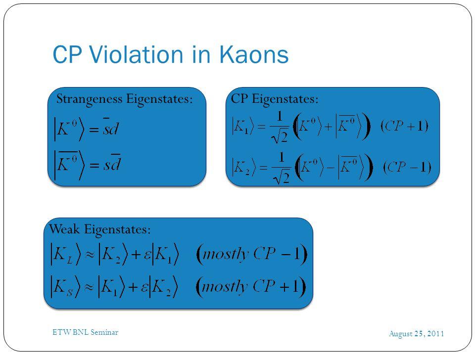 CP Violation in Kaons August 25, 2011 ETW BNL Seminar Strangeness Eigenstates:CP Eigenstates: Weak Eigenstates: