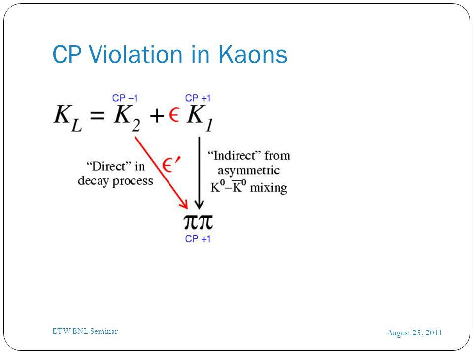 Measuring Kaon Parameters August 25, 2011 ETW BNL Seminar SS cos(  mt +   )