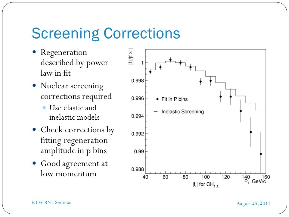 Screening Corrections August 25, 2011 ETW BNL Seminar Regeneration described by power law in fit Nuclear screening corrections required Use elastic and inelastic models Check corrections by fitting regeneration amplitude in p bins Good agreement at low momentum