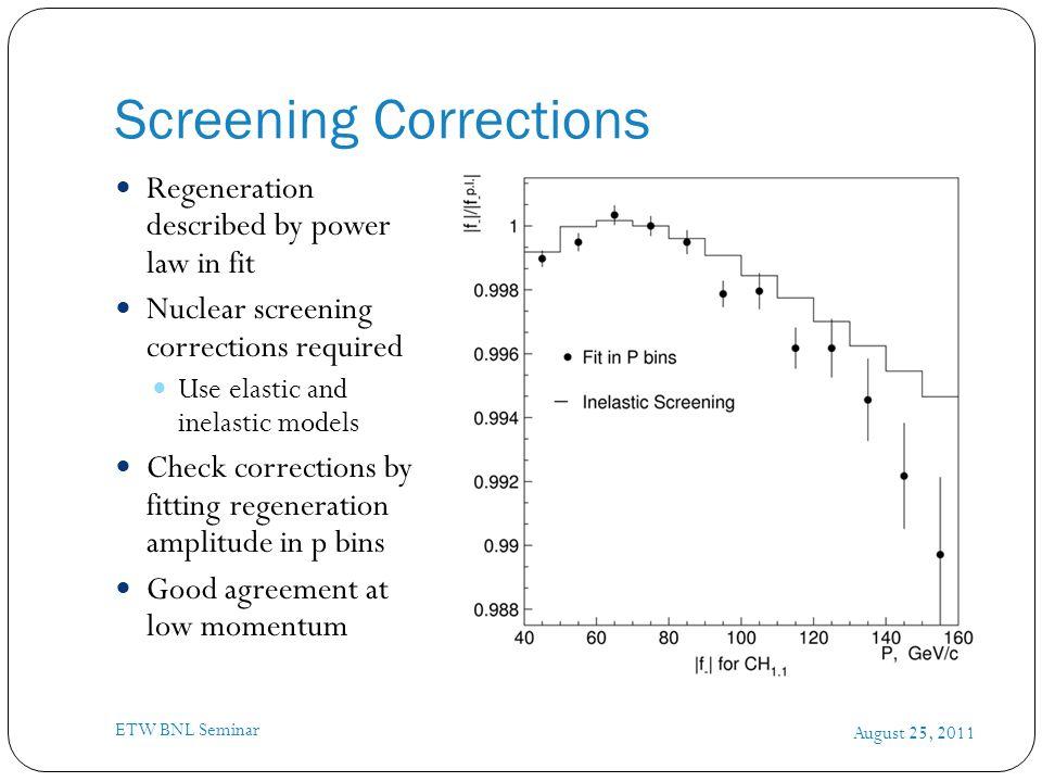 Screening Corrections August 25, 2011 ETW BNL Seminar Regeneration described by power law in fit Nuclear screening corrections required Use elastic an