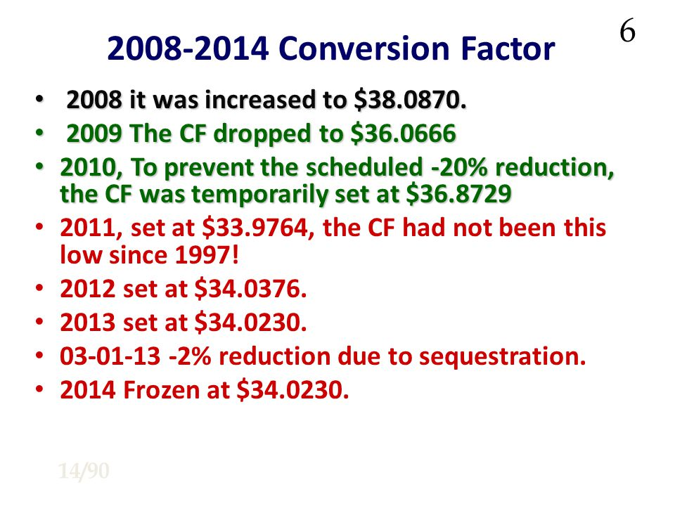 2008-2014 Conversion Factor 2008 it was increased to $38.0870.