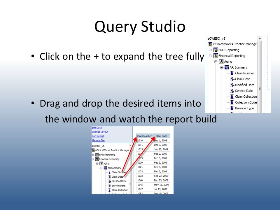 Query Studio Click on the + to expand the tree fully Drag and drop the desired items into the window and watch the report build