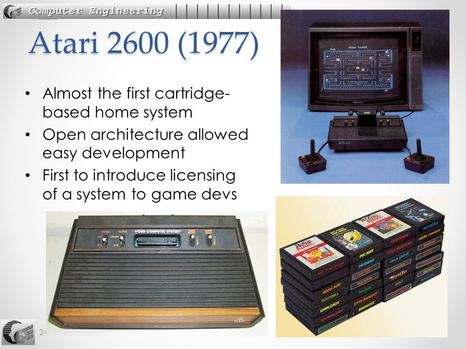 12 242-515 AGD: 1. History 12 Almost the first cartridge- based home system Open architecture allowed easy development First to introduce licensing of