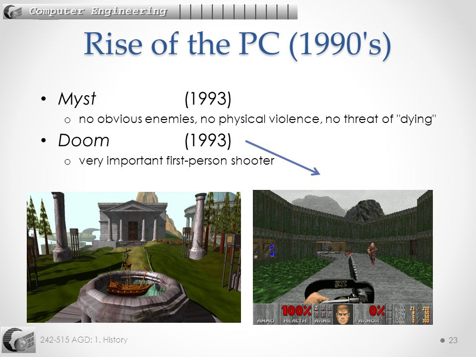 23 242-515 AGD: 1. History 23 Myst (1993) o no obvious enemies, no physical violence, no threat of