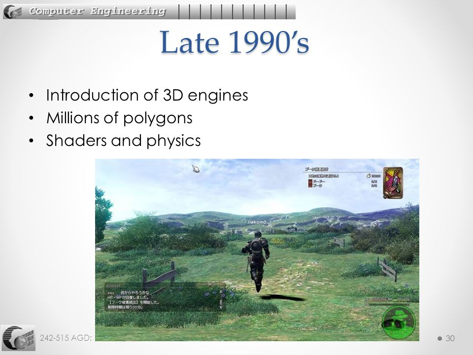 30 242-515 AGD: 1. History 30 Introduction of 3D engines Millions of polygons Shaders and physics Late 1990's