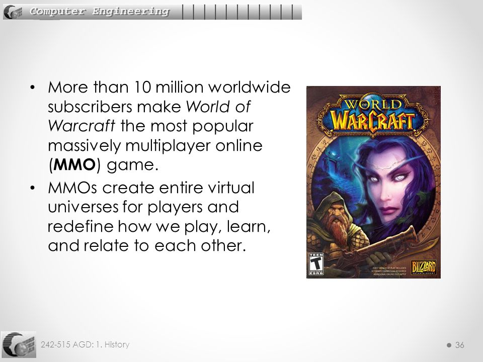 36 242-515 AGD: 1. History 36 More than 10 million worldwide subscribers make World of Warcraft the most popular massively multiplayer online ( MMO )