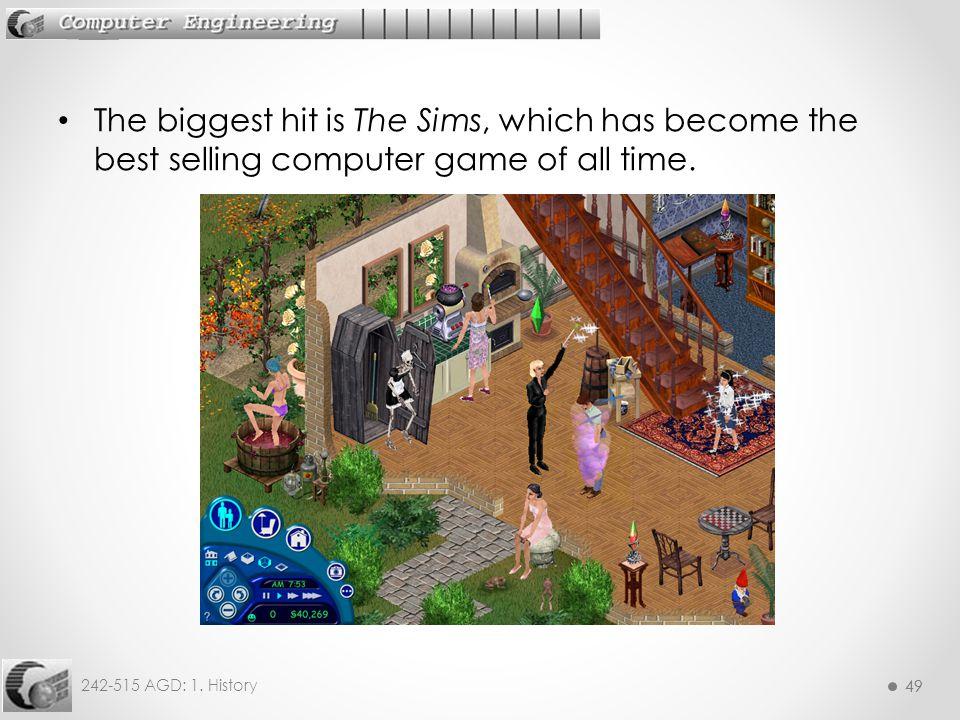 49 242-515 AGD: 1. History 49 The biggest hit is The Sims, which has become the best selling computer game of all time.
