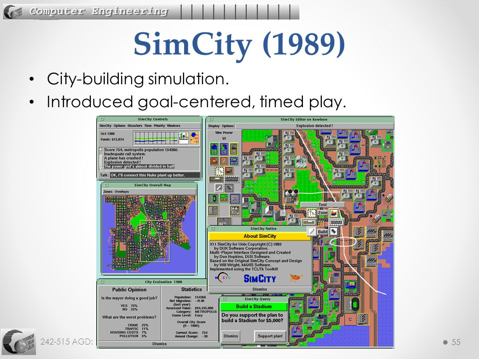 55 242-515 AGD: 1. History 55 City-building simulation. Introduced goal-centered, timed play. SimCity (1989)