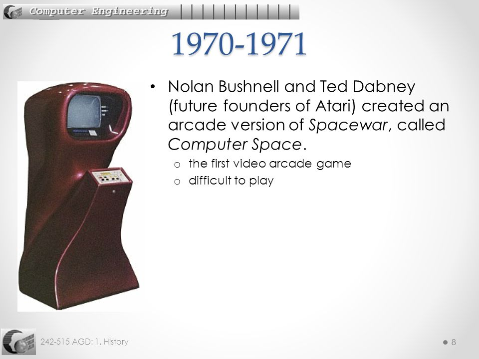 8 242-515 AGD: 1. History 8 Nolan Bushnell and Ted Dabney (future founders of Atari) created an arcade version of Spacewar, called Computer Space. o t