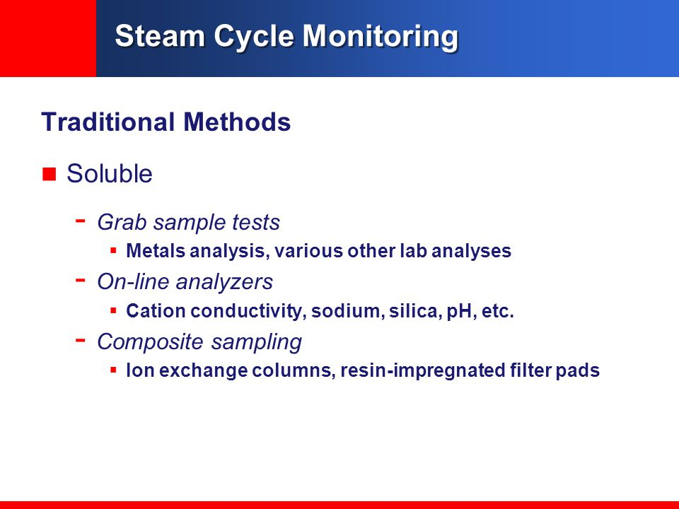 Traditional Methods Soluble - Grab sample tests  Metals analysis, various other lab analyses - On-line analyzers  Cation conductivity, sodium, silica, pH, etc.
