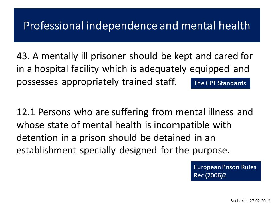 Professional independence and mental health 43.