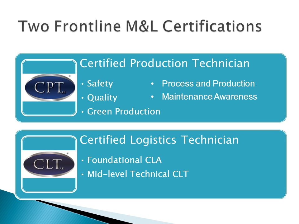 Certified Production Technician Safety Quality Green Production Certified Logistics Technician Foundational CLA Mid-level Technical CLT Process and Production Maintenance Awareness
