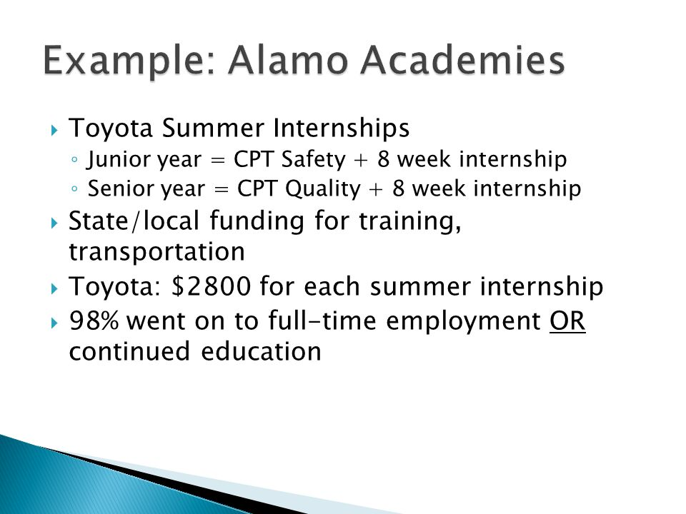  Toyota Summer Internships ◦ Junior year = CPT Safety + 8 week internship ◦ Senior year = CPT Quality + 8 week internship  State/local funding for training, transportation  Toyota: $2800 for each summer internship  98% went on to full-time employment OR continued education