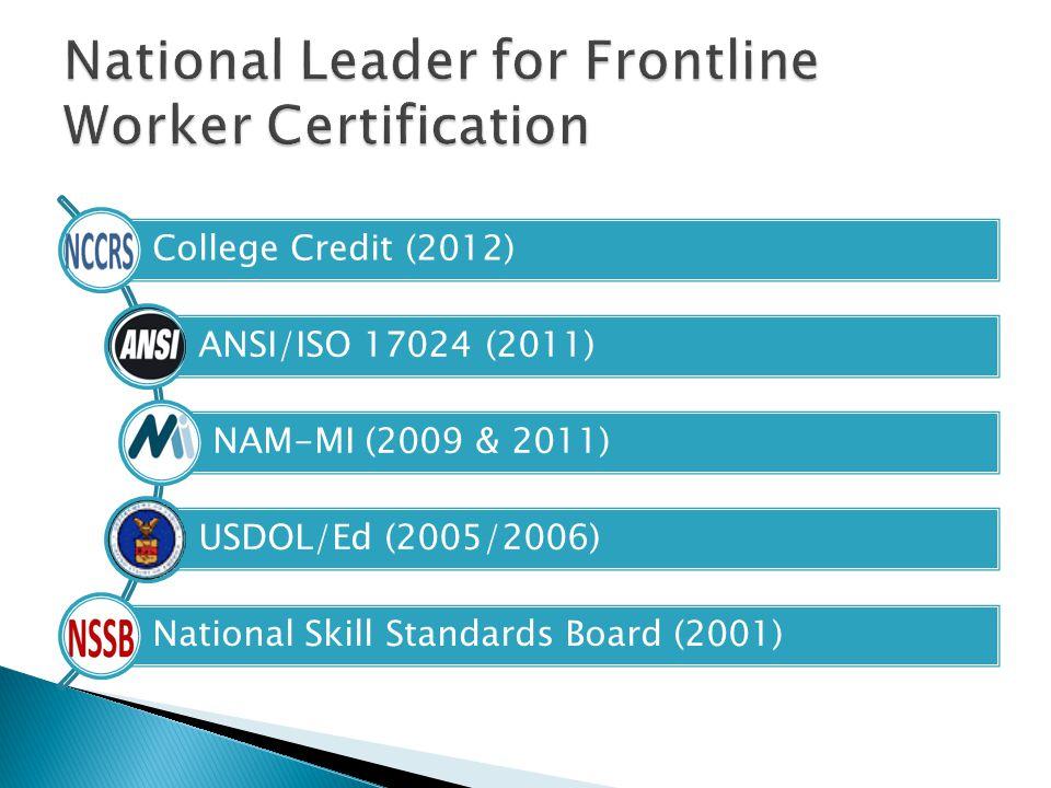College Credit (2012) ANSI/ISO 17024 (2011) NAM-MI (2009 & 2011) USDOL/Ed (2005/2006) National Skill Standards Board (2001)