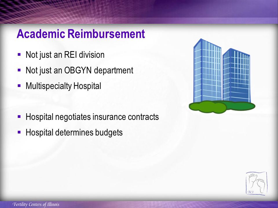 Academic Reimbursement  Not just an REI division  Not just an OBGYN department  Multispecialty Hospital  Hospital negotiates insurance contracts  Hospital determines budgets