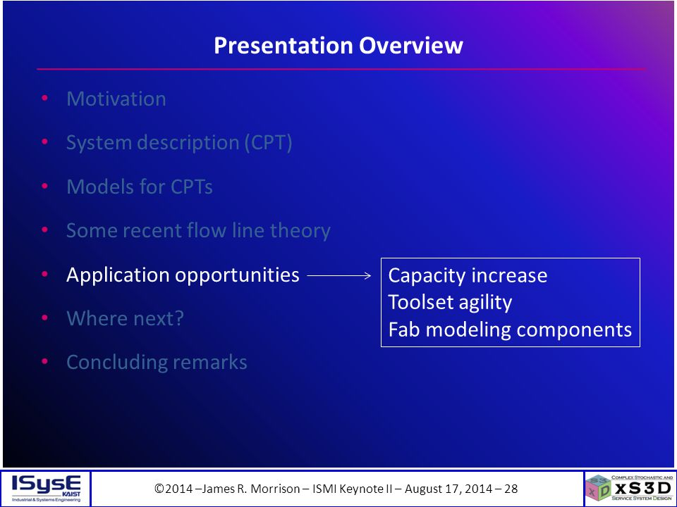 ©2014 –James R. Morrison – ISMI Keynote II – August 17, 2014 – 28 Presentation Overview Motivation System description (CPT) Models for CPTs Some recen