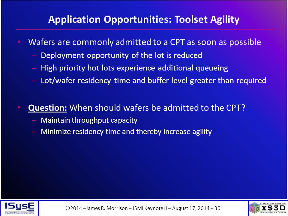 ©2014 –James R. Morrison – ISMI Keynote II – August 17, 2014 – 30 Application Opportunities: Toolset Agility Wafers are commonly admitted to a CPT as