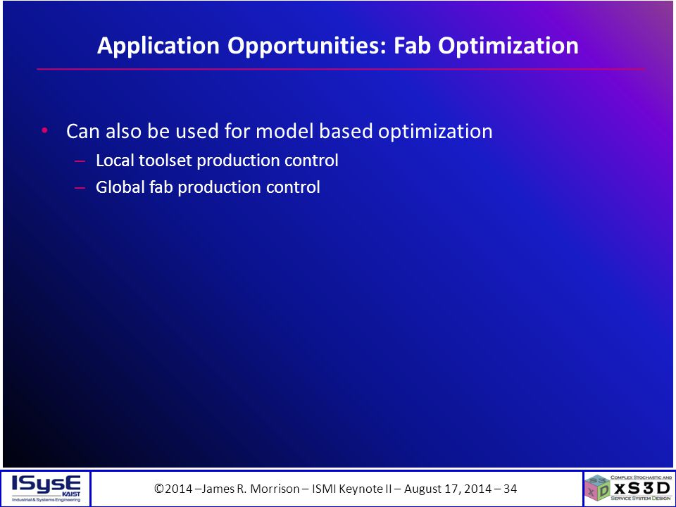 ©2014 –James R. Morrison – ISMI Keynote II – August 17, 2014 – 34 Application Opportunities: Fab Optimization Can also be used for model based optimiz