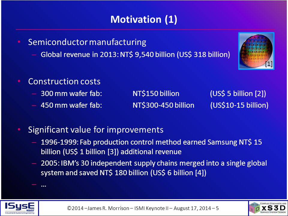 ©2014 –James R. Morrison – ISMI Keynote II – August 17, 2014 – 5 Motivation (1) Semiconductor manufacturing – Global revenue in 2013: NT$ 9,540 billio