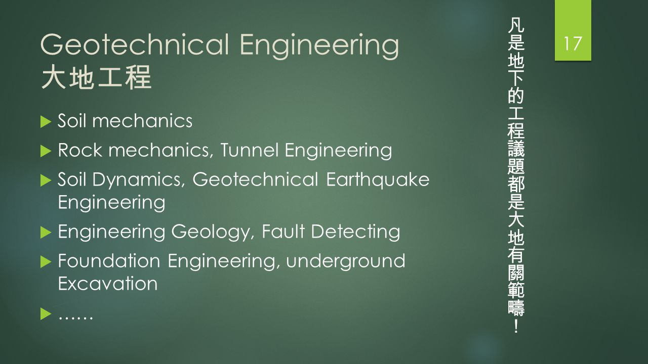 Geotechnical Engineering 大地工程  Soil mechanics  Rock mechanics, Tunnel Engineering  Soil Dynamics, Geotechnical Earthquake Engineering  Engineering Geology, Fault Detecting  Foundation Engineering, underground Excavation  …… 17