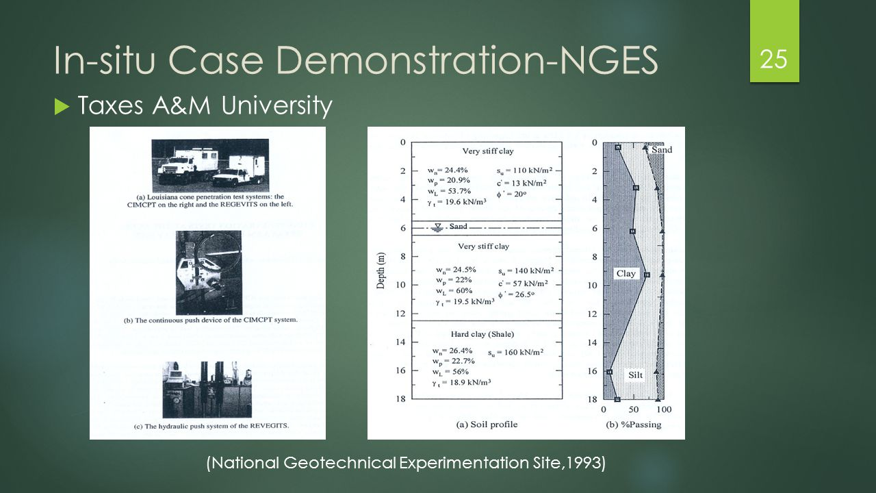 In-situ Case Demonstration-NGES  Taxes A&M University 25 (National Geotechnical Experimentation Site,1993)
