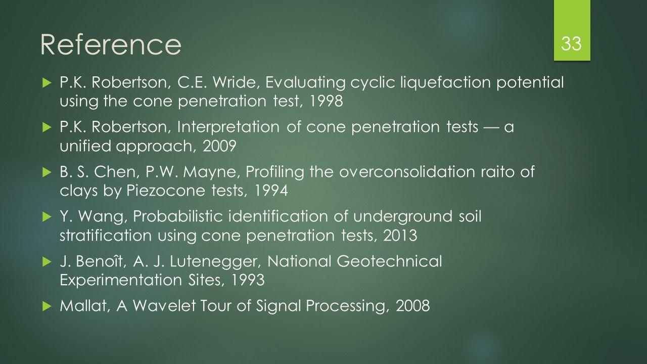 Reference  P.K. Robertson, C.E. Wride, Evaluating cyclic liquefaction potential using the cone penetration test, 1998  P.K. Robertson, Interpretatio