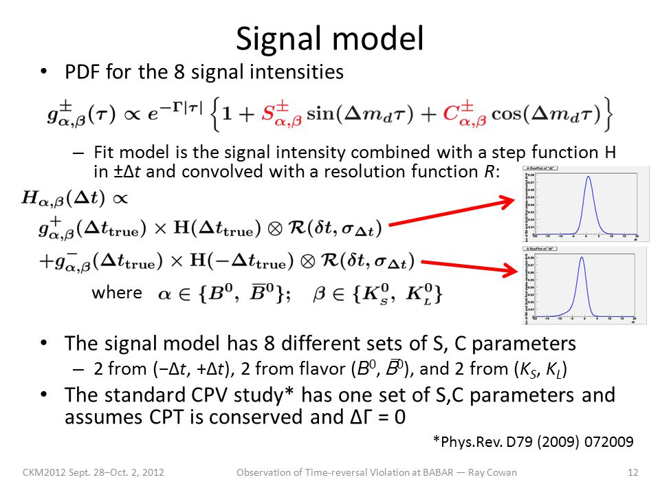 Signal model CKM2012 Sept. 28–Oct. 2, 2012Observation of Time-reversal Violation at BABAR — Ray Cowan12 PDF for the 8 signal intensities – Fit model i
