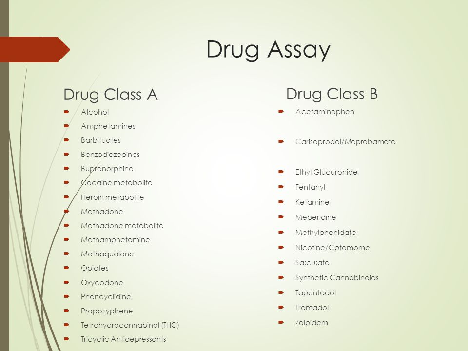 Drug Assay Drug Class A  Alcohol  Amphetamines  Barbituates  Benzodiazepines  Buprenorphine  Cocaine metabolite  Heroin metabolite  Methadone  Methadone metabolite  Methamphetamine  Methaqualone  Opiates  Oxycodone  Phencyclidine  Propoxyphene  Tetrahydrocannabinol (THC)  Tricyclic Antidepressants Drug Class B  Acetaminophen  Carisoprodol/Meprobamate  Ethyl Glucuronide  Fentanyl  Ketamine  Meperidine  Methylphenidate  Nicotine/Cptomome  Sa;cu;ate  Synthetic Cannabinoids  Tapentadol  Tramadol  Zolpidem