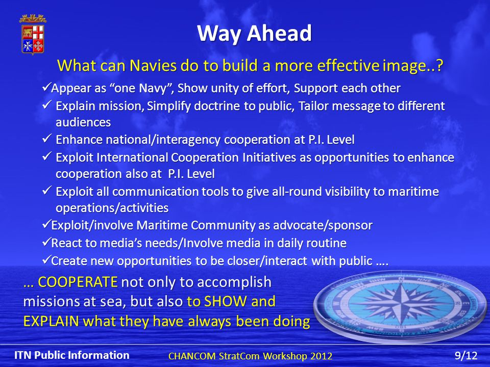 Way Ahead Appear as one Navy , Show unity of effort, Support each other Appear as one Navy , Show unity of effort, Support each other Explain mission, Simplify doctrine to public, Tailor message to different audiences Explain mission, Simplify doctrine to public, Tailor message to different audiences Enhance national/interagency cooperation at P.I.