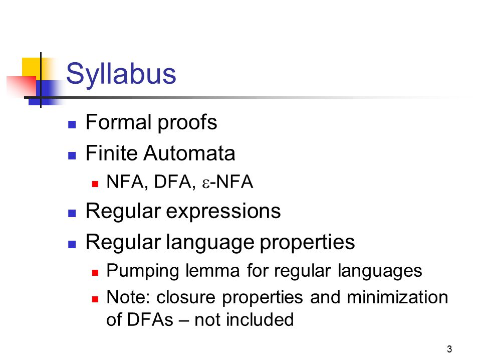 3 Syllabus Formal proofs Finite Automata NFA, DFA,  -NFA Regular expressions Regular language properties Pumping lemma for regular languages Note: cl