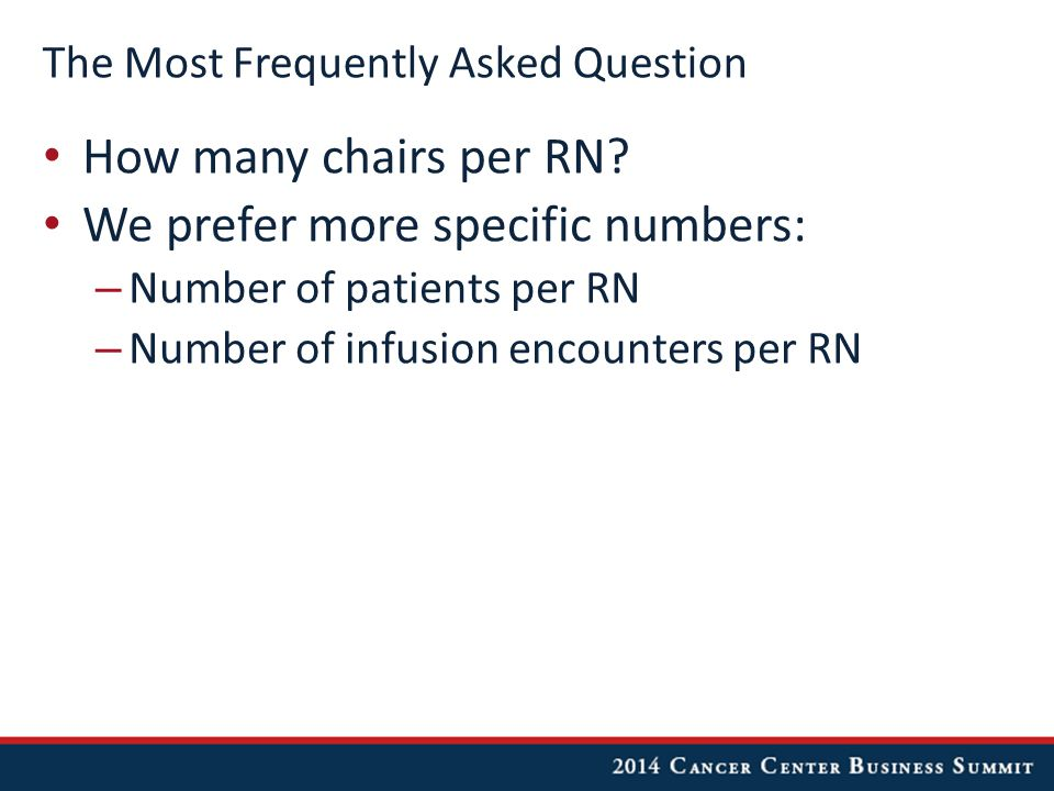 The Most Frequently Asked Question How many chairs per RN.