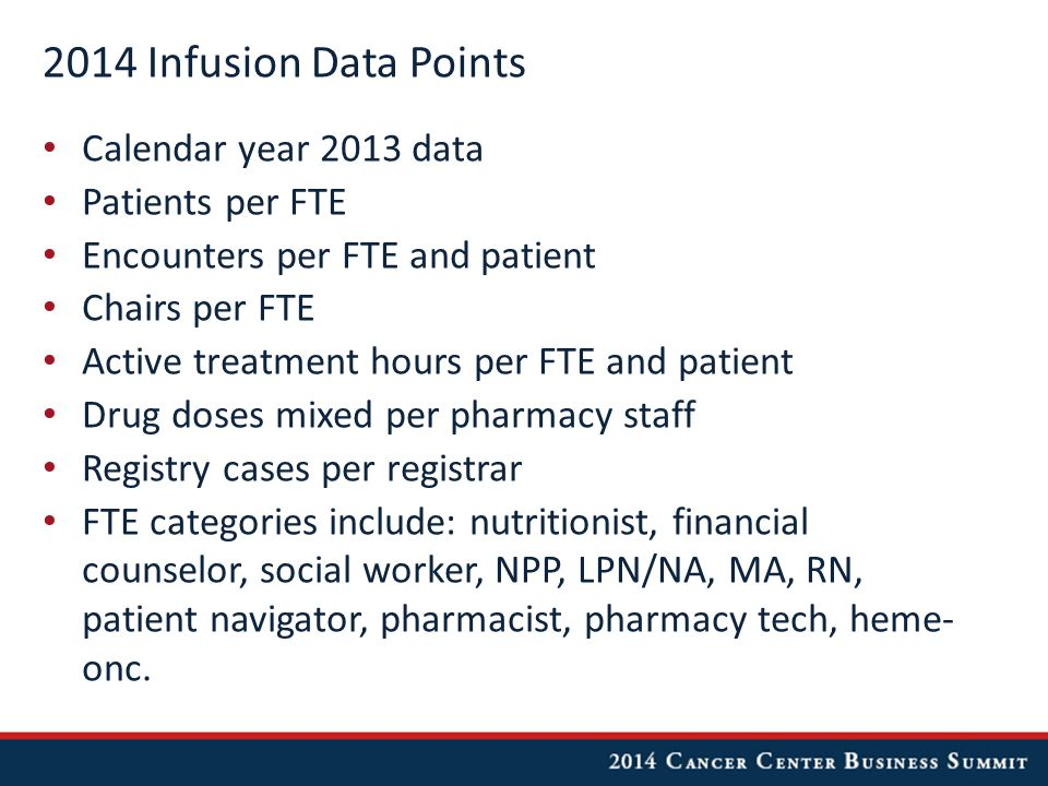 2014 Infusion Data Points Calendar year 2013 data Patients per FTE Encounters per FTE and patient Chairs per FTE Active treatment hours per FTE and patient Drug doses mixed per pharmacy staff Registry cases per registrar FTE categories include: nutritionist, financial counselor, social worker, NPP, LPN/NA, MA, RN, patient navigator, pharmacist, pharmacy tech, heme- onc.