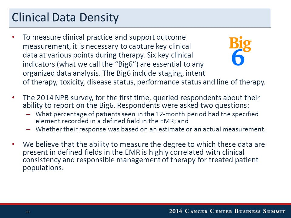 To measure clinical practice and support outcome measurement, it is necessary to capture key clinical data at various points during therapy. Six key c