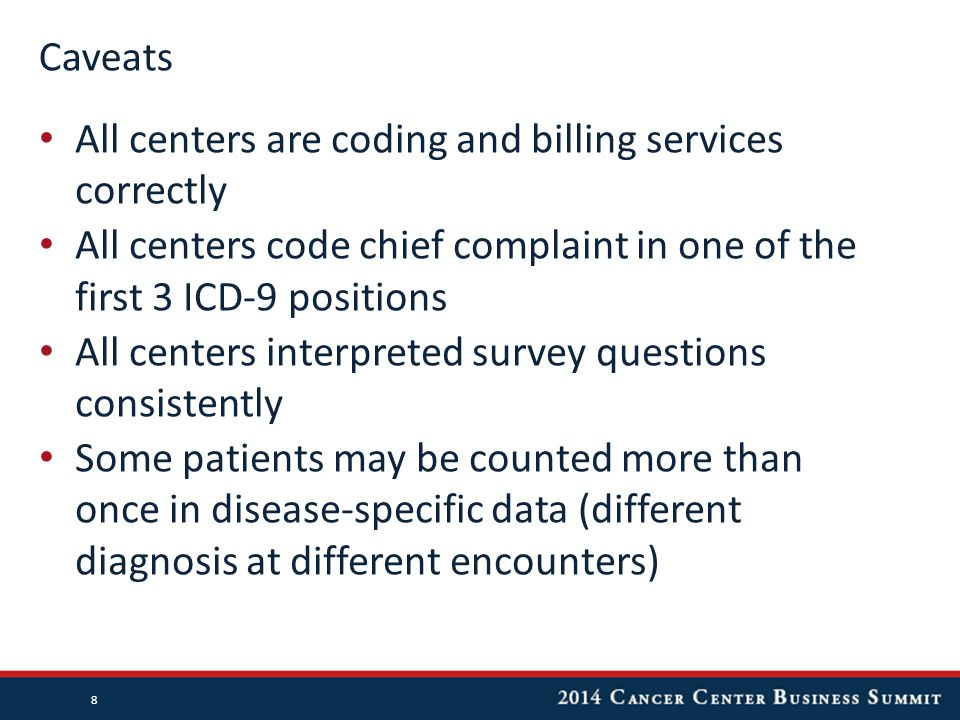 Caveats All centers are coding and billing services correctly All centers code chief complaint in one of the first 3 ICD-9 positions All centers interpreted survey questions consistently Some patients may be counted more than once in disease-specific data (different diagnosis at different encounters) 8