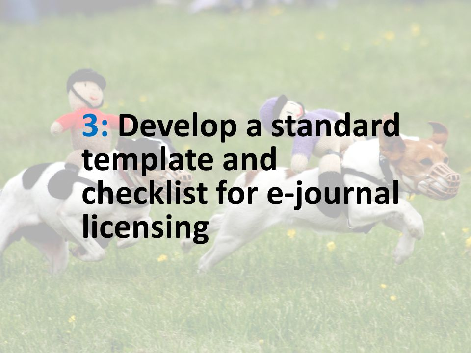 3: Develop a standard template and checklist for e-journal licensing