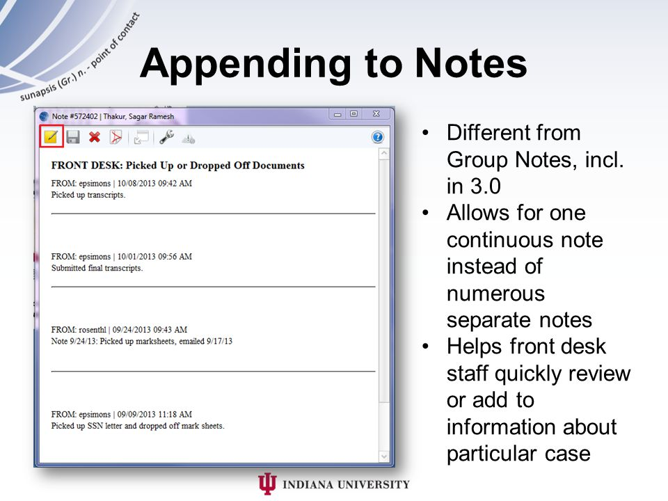 Appending to Notes Different from Group Notes, incl.