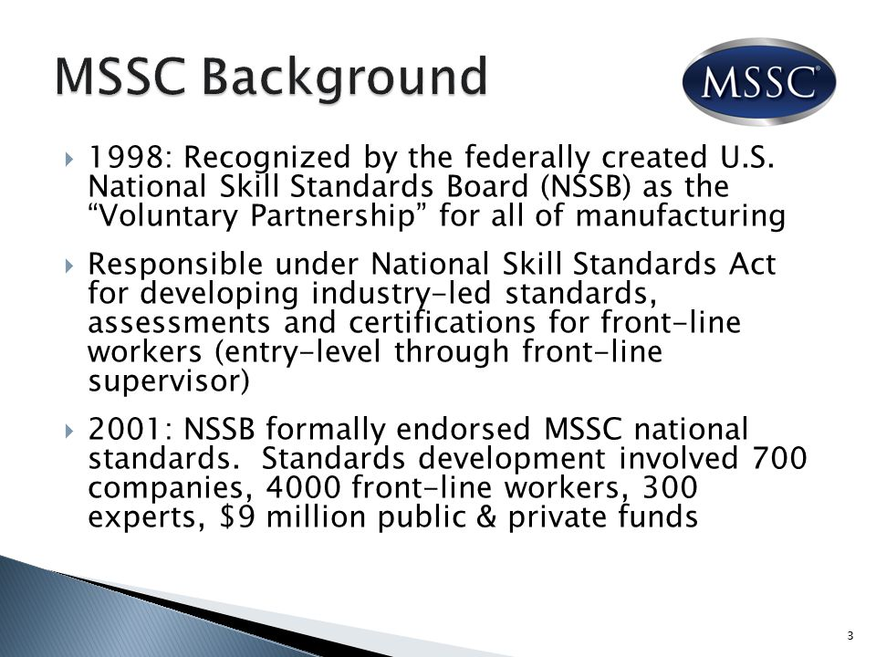  Increases industry client base through MSSC network and nationally recognized certification-based training  Increases student enrollment through on- demand e-learning solutions  Provides instructor training to increase skills and opportunities  Multiple delivery formats allow flexible scheduling  Enables schools to offer certifications as well as degrees 14