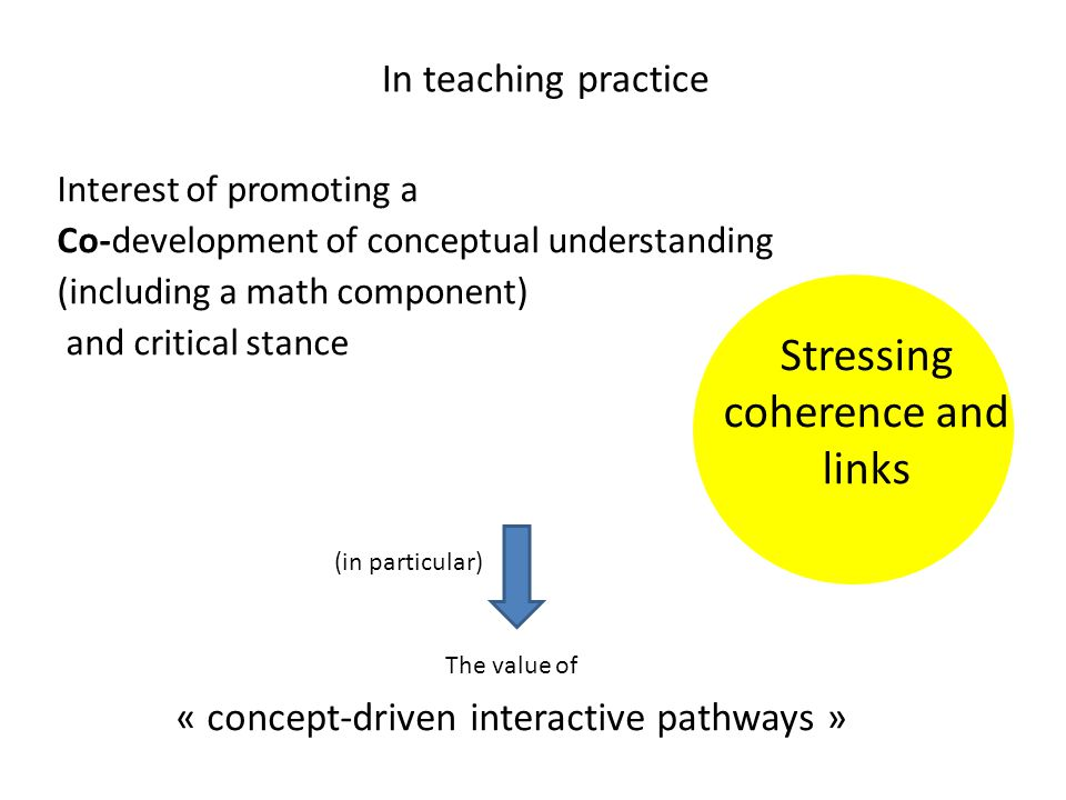 Interest of promoting a Co-development of conceptual understanding (including a math component) and critical stance The value of « concept-driven interactive pathways » In teaching practice Stressing coherence and links (in particular)