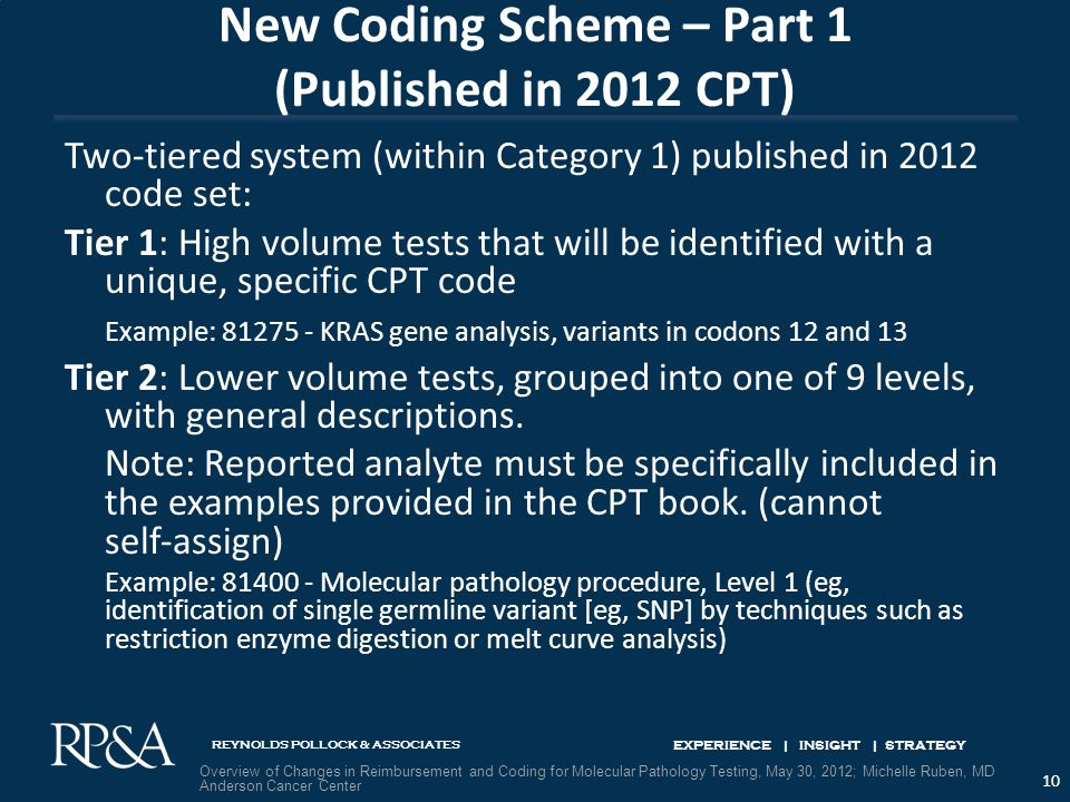 REYNOLDS POLLOCK & ASSOCIATES EXPERIENCE | INSIGHT | STRATEGY New Coding Scheme – Part 1 (Published in 2012 CPT) Two‐tiered system (within Category 1) published in 2012 code set: Tier 1: High volume tests that will be identified with a unique, specific CPT code Example: 81275 ‐ KRAS gene analysis, variants in codons 12 and 13 Tier 2: Lower volume tests, grouped into one of 9 levels, with general descriptions.