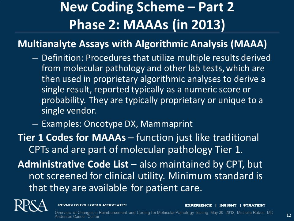 REYNOLDS POLLOCK & ASSOCIATES EXPERIENCE | INSIGHT | STRATEGY New Coding Scheme – Part 2 Phase 2: MAAAs (in 2013) Multianalyte Assays with Algorithmic