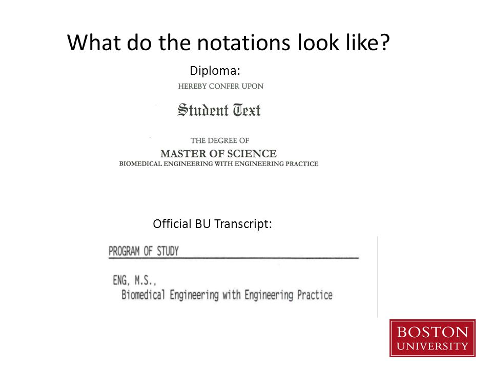 Official BU Transcript: What do the notations look like Diploma: