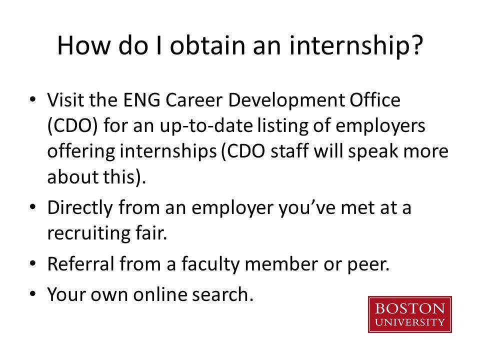 How do I obtain an internship.