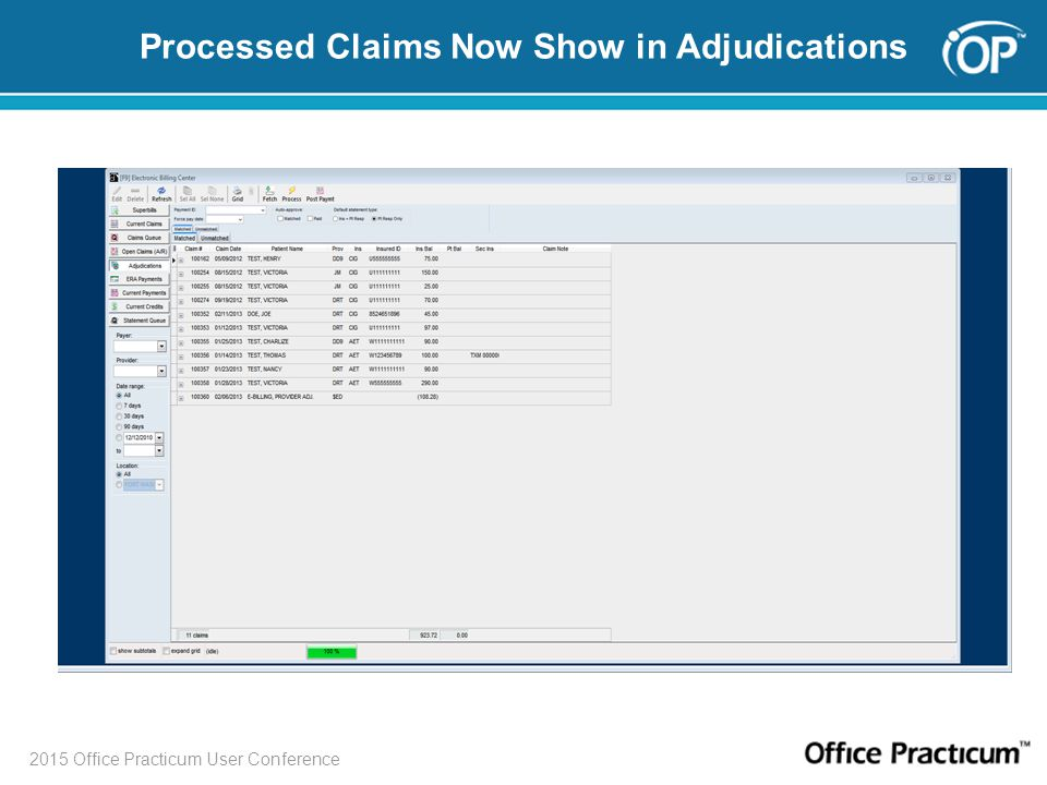 Processed Claims Now Show in Adjudications