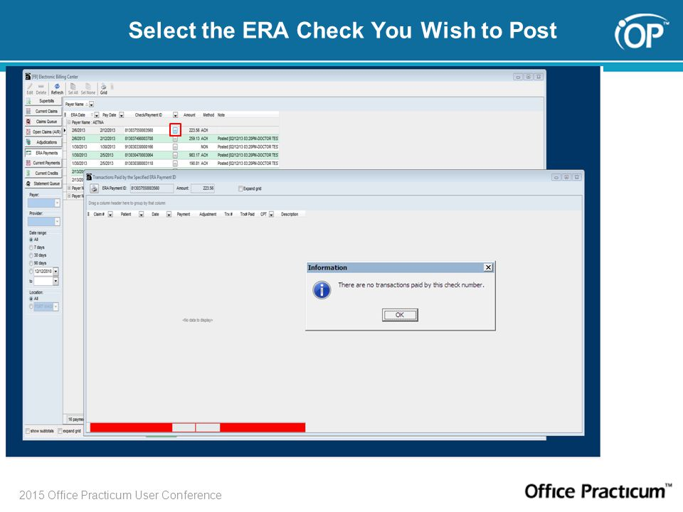 2015 Office Practicum User Conference Select the ERA Check You Wish to Post