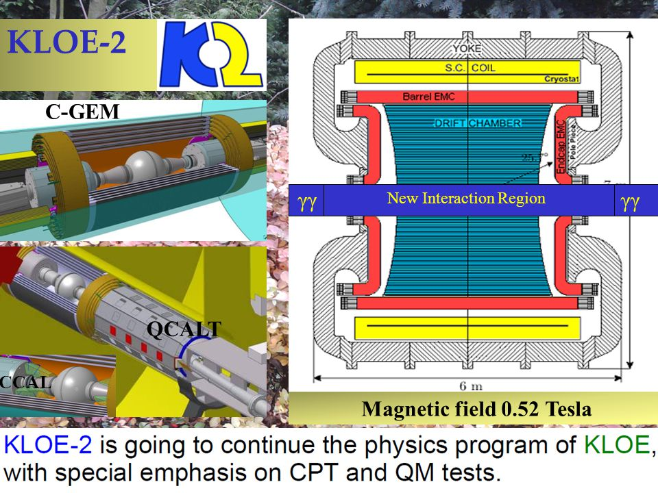 KLOE-2 Magnetic field 0.52 Tesla New Interaction Region γγ C-GEM QCALT CCAL