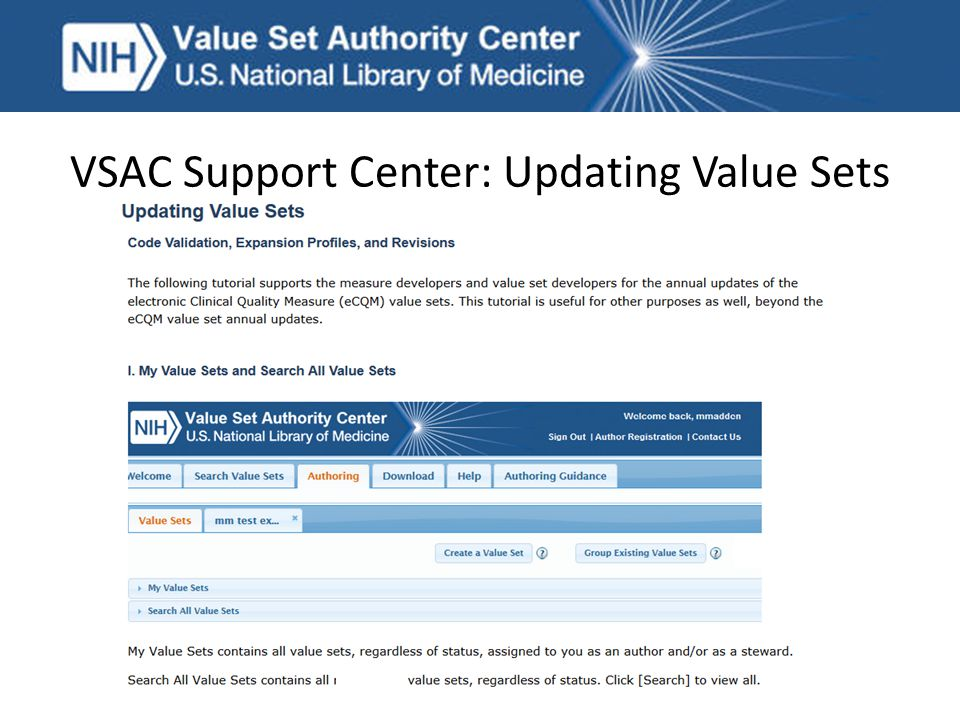 VSAC Support Center: Updating Value Sets