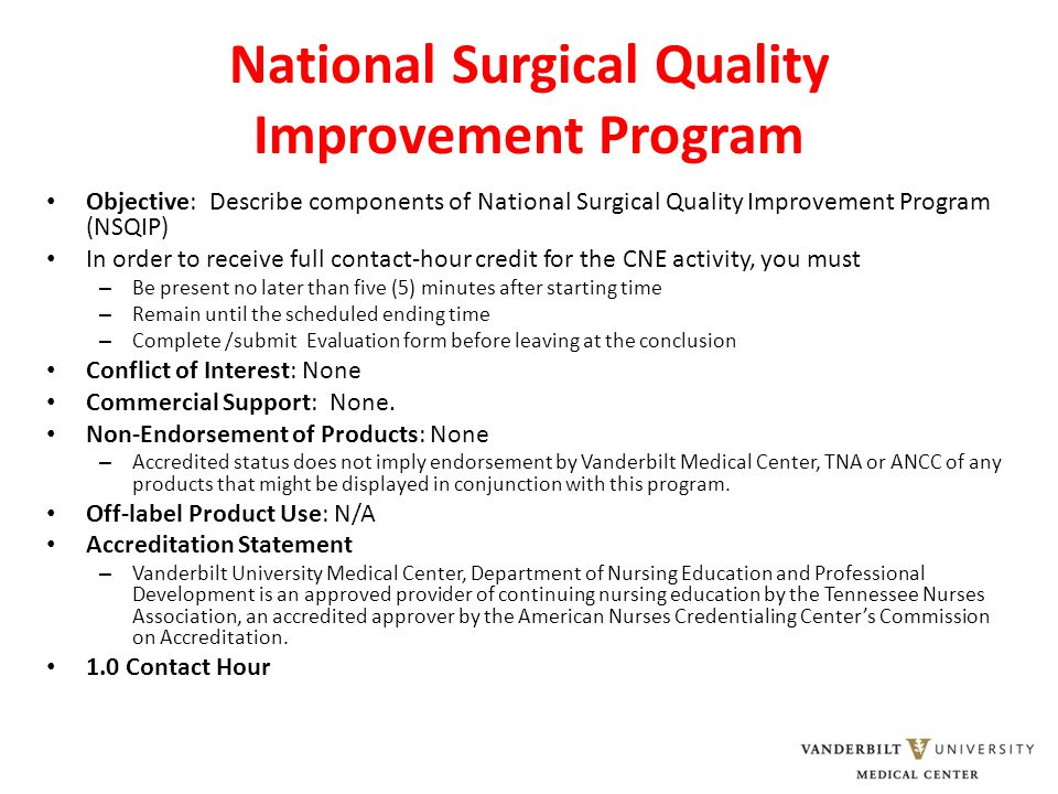 NSQIP and the Nation The Centers for Medicare and Medicaid Services (CMS) is considering five measures from ACS NSQIP for national implementation NSQIP – based programs – Bariatric Surgery Center Network – NSQIP-Pediatric – Trauma Quality Improvement Program ACS Goal: 1000 member hospitals by 2012