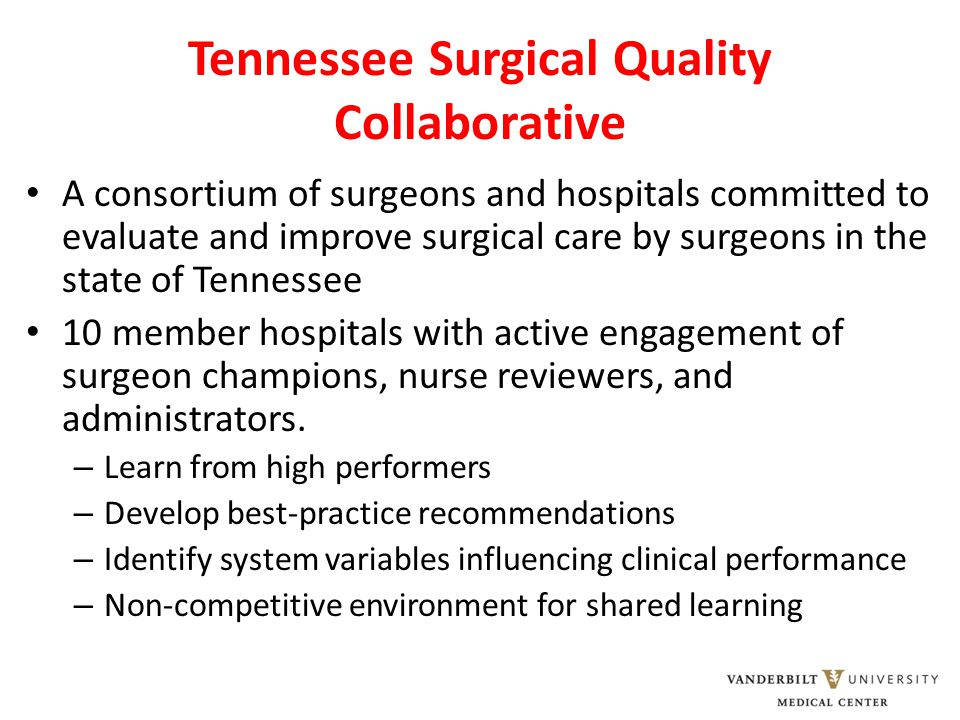 A consortium of surgeons and hospitals committed to evaluate and improve surgical care by surgeons in the state of Tennessee 10 member hospitals with active engagement of surgeon champions, nurse reviewers, and administrators.